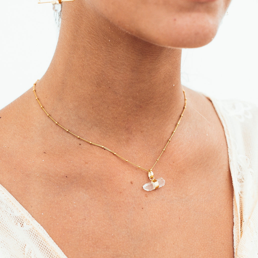 Quartz Horizon Necklace STERLING SILVER & 18K GOLD
