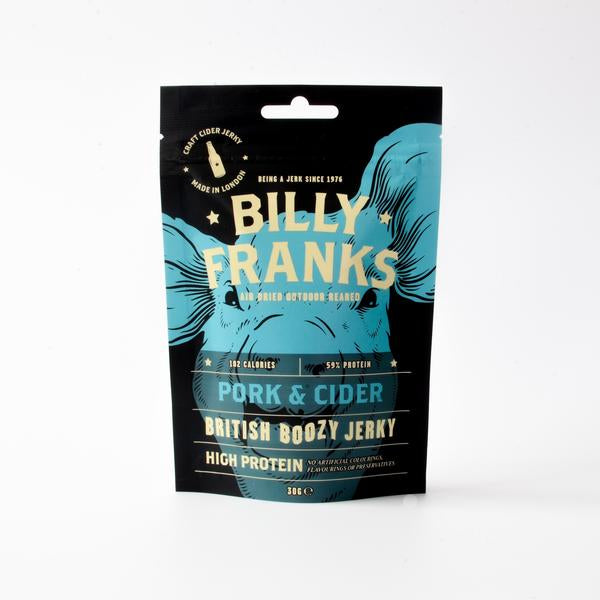 BILLY FRANKS BOOZY PORK & CIDER JERKY 30G - Vino Wines