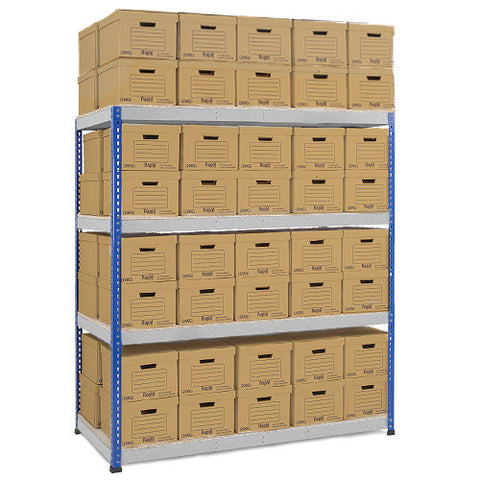 RSS 1 Blue & Grey Archive Storage Unit 80 boxes