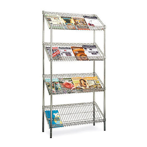 "Pair of Chrome Magazine Shelves 4""h x 3'w x 14""d 200kg cap"