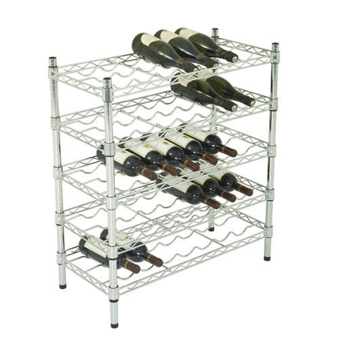 Chrome Wine Rack 838h x 760w x 355mmd with 5 levels