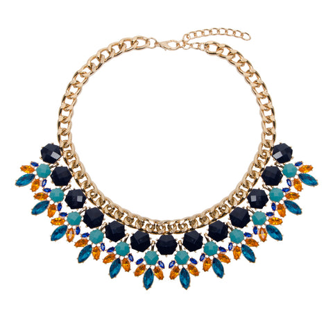 ABBY Statement Bright Jewel Geometric Collar Necklace