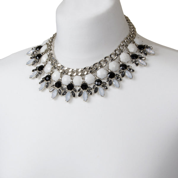 statement chunky jewel collar choker necklace geometric white black grey rhinestones