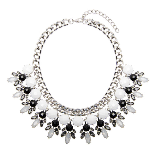 statement silver jewel collar necklace with black white and grey rhinestones