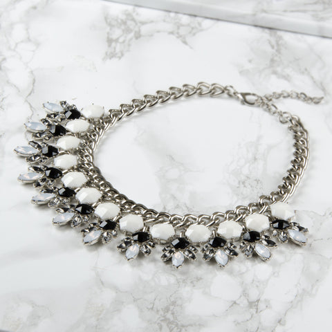 ABBY Geometric Silver Jewel Collar Necklace