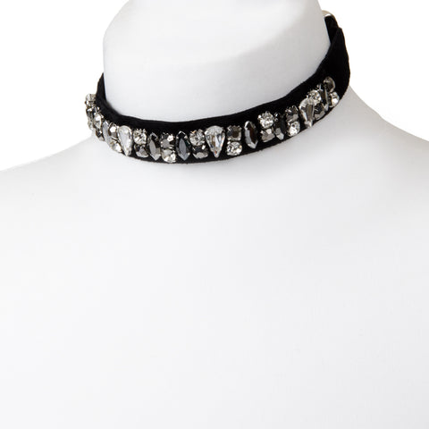 ADRIANNA Velvet Multi Jewel Embellished Black Choker