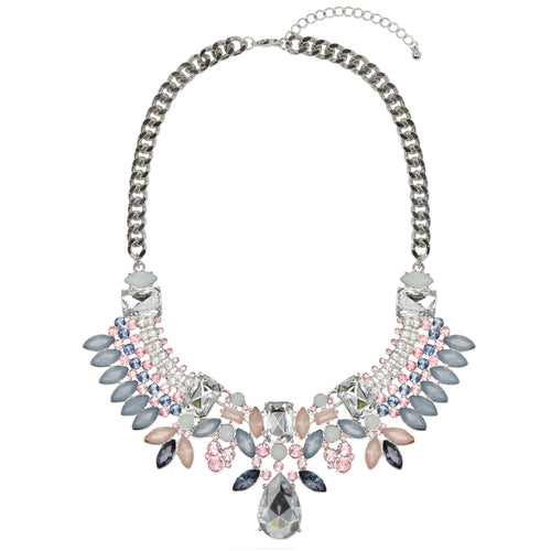 Silver Statement Pastel Jewel Necklace