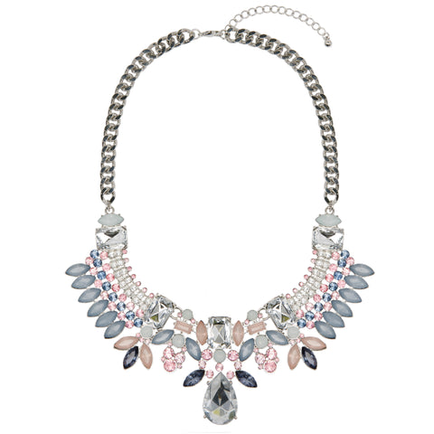 AISHA Silver Statement Pastel Jewel Necklace