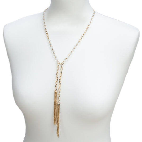 Gold Glass Bead Tassel Long Necklace