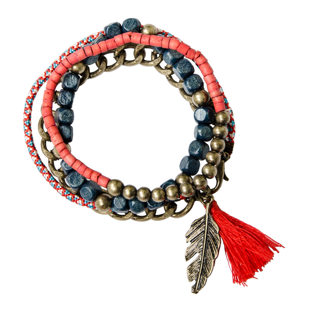 womens red and blue layered stacking bracelet set with gold leaf and tassel charms