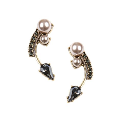 Gold earrings with faux pearl and dark grey coloured rhinestones