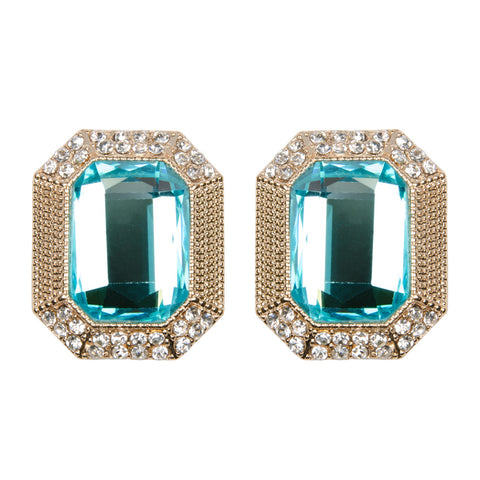 Bright Aqua Jewel Earrings