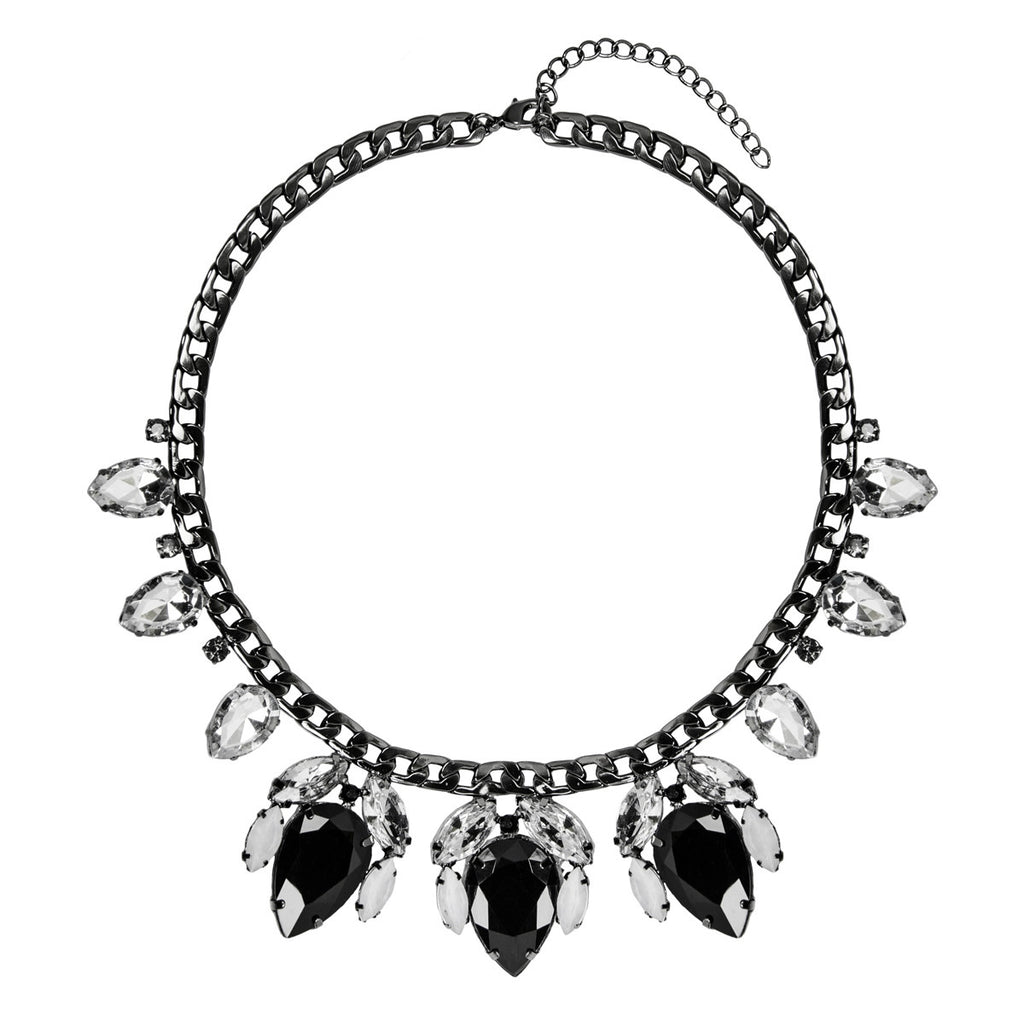ARIELA Black Tear Drop Jewel Necklace