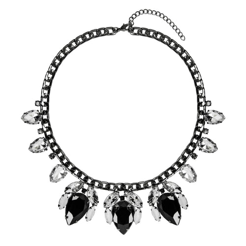 Black Tear Drop Jewel Necklace