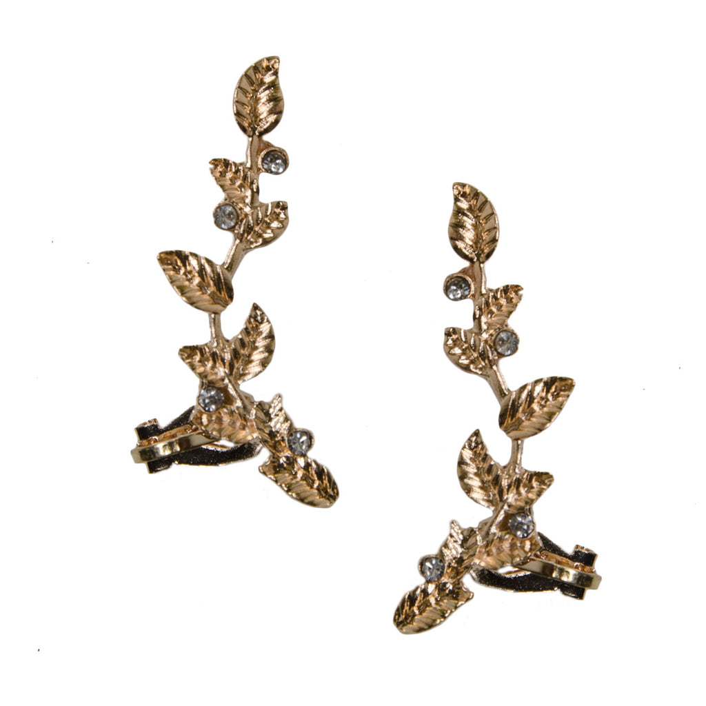 ARIANA Gold Leaf Lobe Crystal Earrings