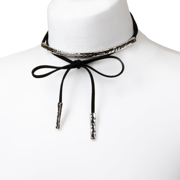 ASHLYN Suede Black Tie Choker With Silver Bar