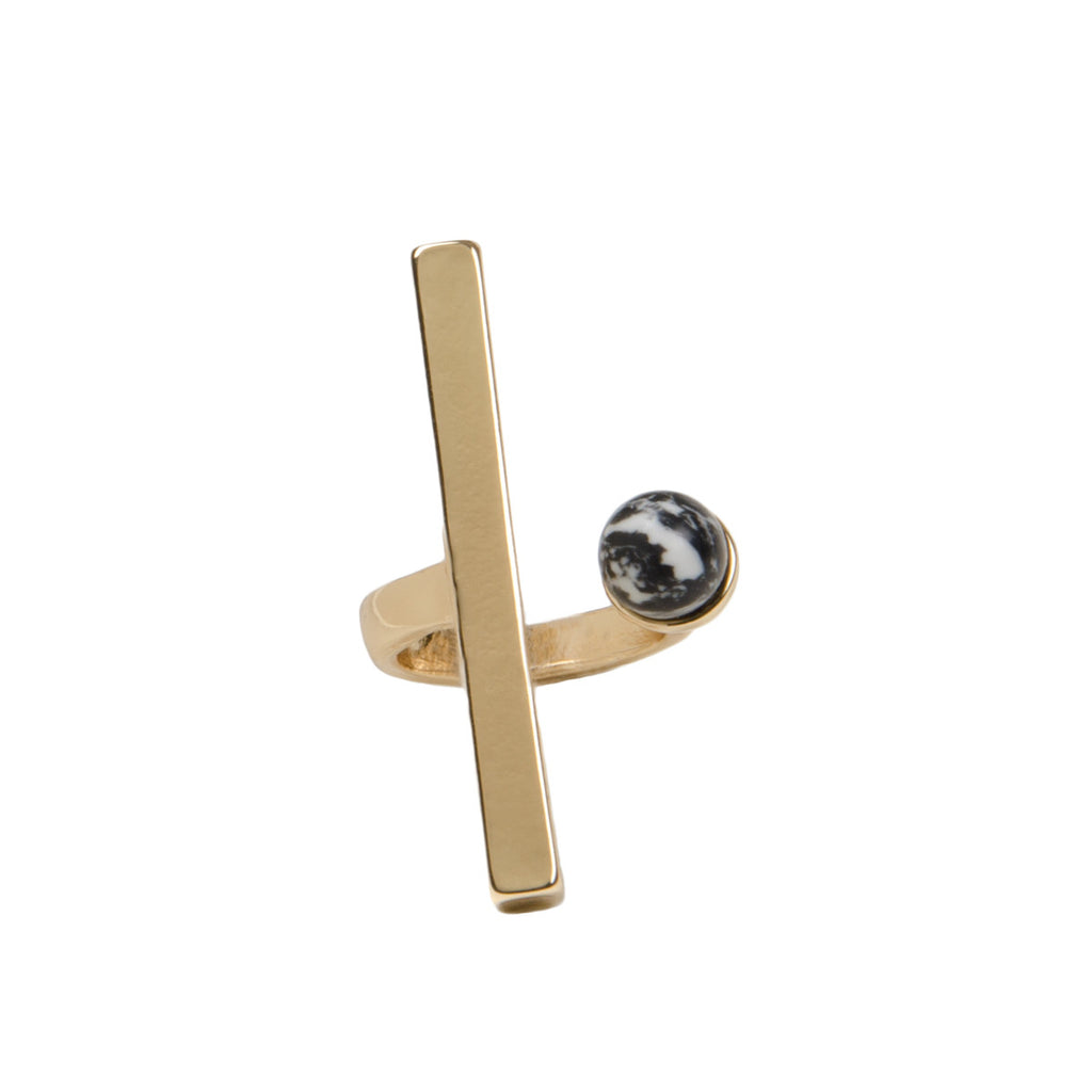 ASTRID Gold Bar Marble Stone Cuff Ring