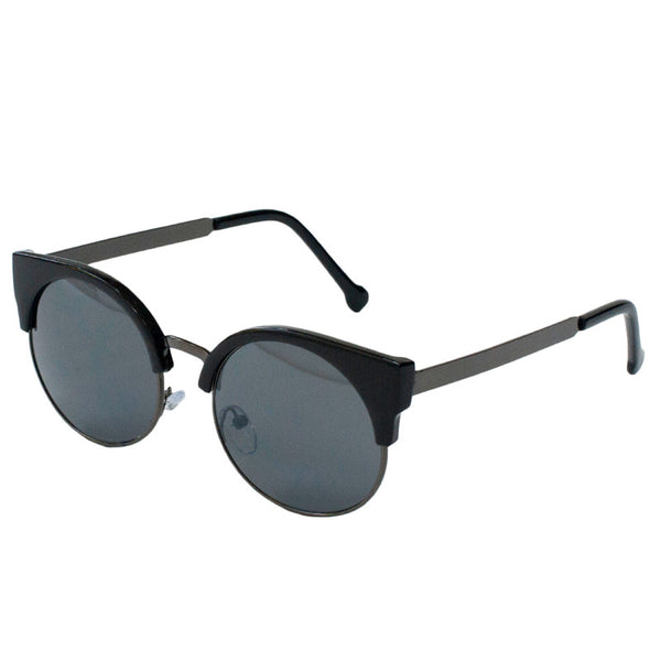 Black cat eye sunglasses with round dark tinted lenses