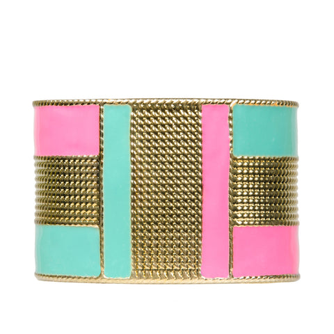 womens gold and neon colour block cuff bangle