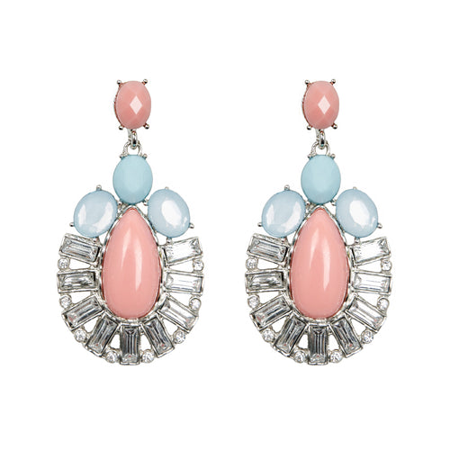 Pink Pastel Oval Jewel Earrings