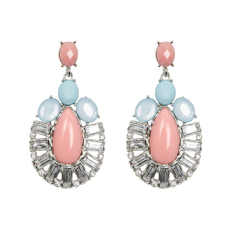 CASEY Pink Pastel Oval Jewel Earrings