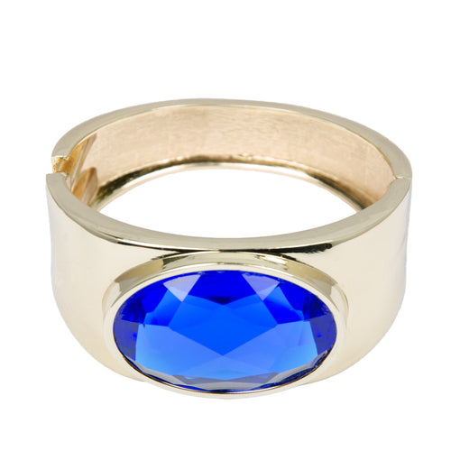 Gold Chunky Sapphire Jewel Bangle