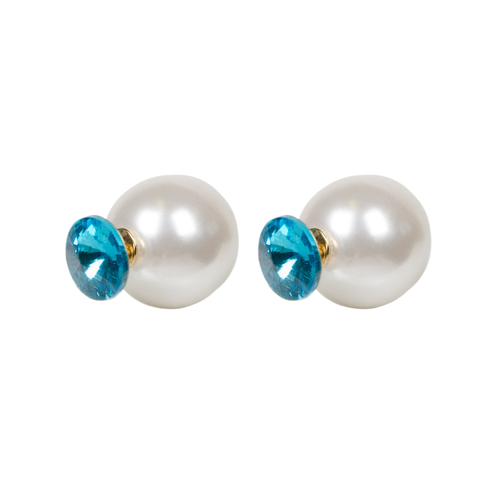 DARCIE Pearl and Blue Jewel Front Back Earrings
