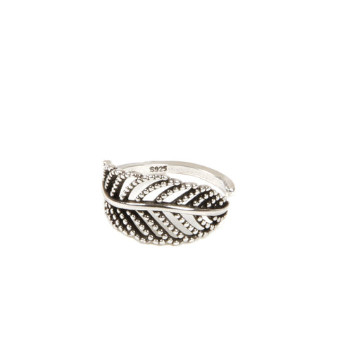 DHALIA Silver Plated Leaf Wrap Ring