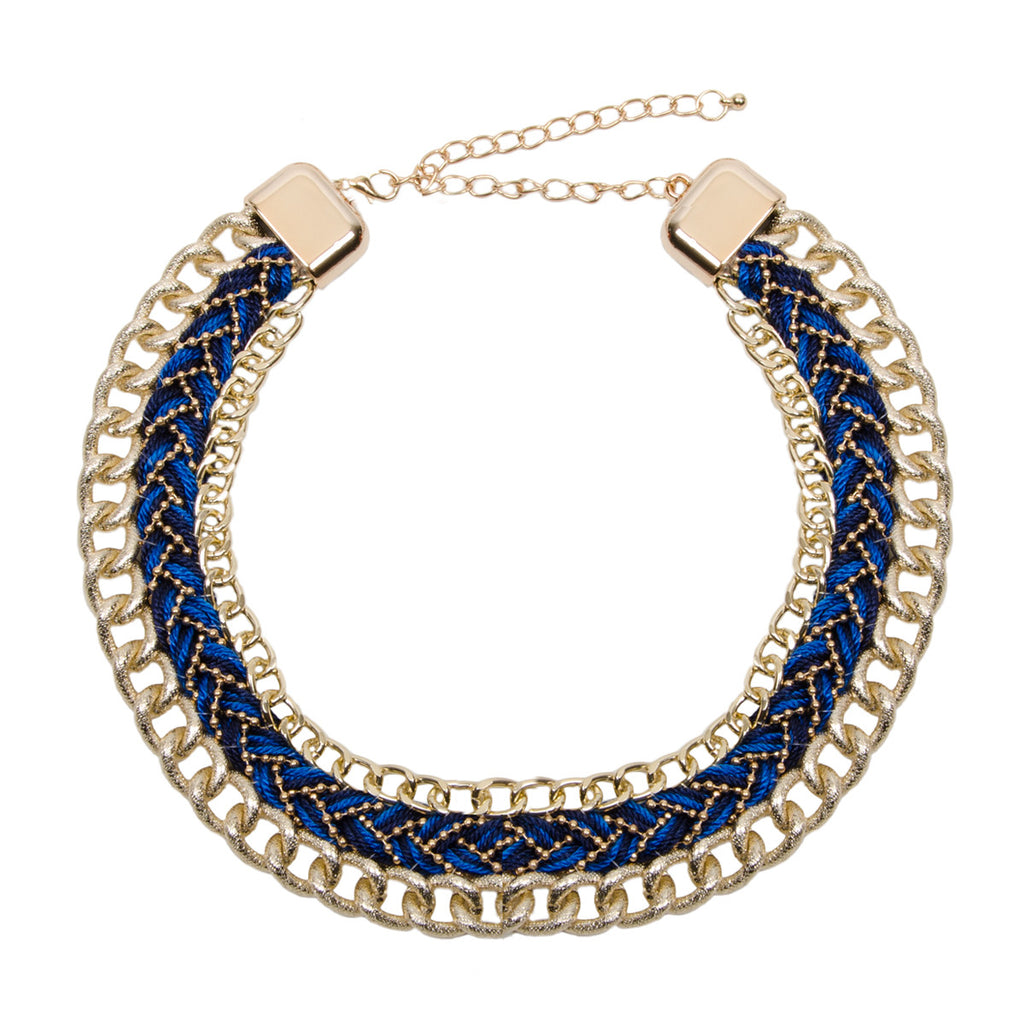 Gold and Blue Woven Chain Collar Necklace