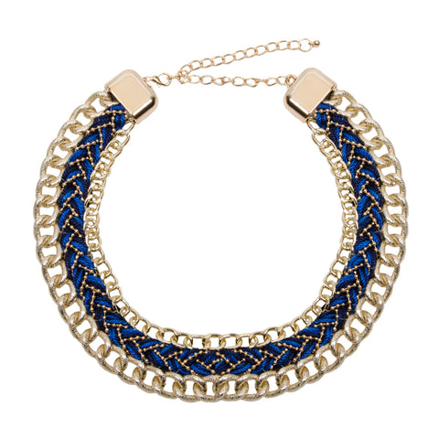 ELIANNA Gold and Blue Woven Chain Collar Necklace