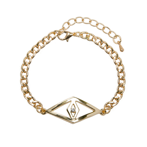 Gold Evil Eye Jewel Chain Bracelet