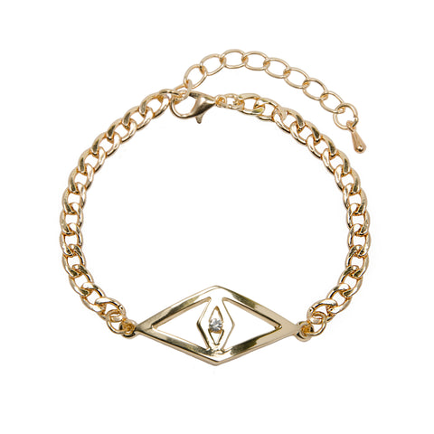 SHANIA Gold Evil Eye Jewel Chain Bracelet