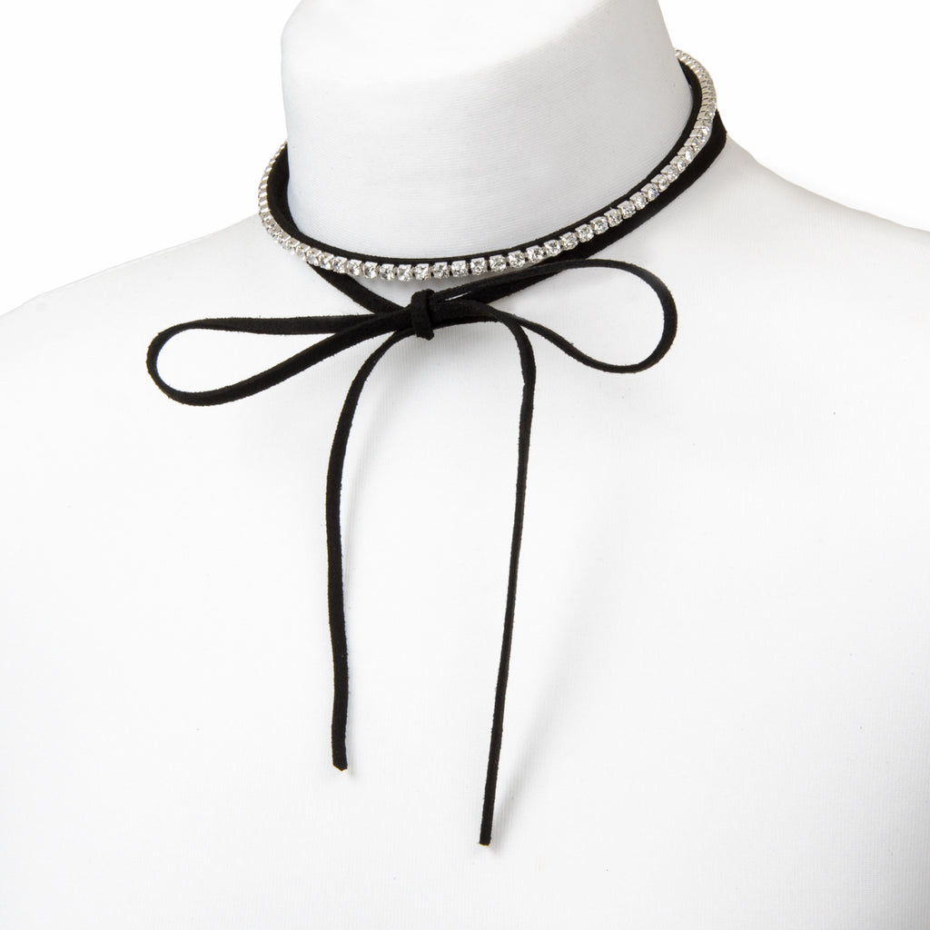 Black faux suede bow tie choker with diamante detail
