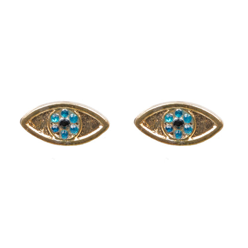 Gold Jewel Evil Eye Stud Earrings