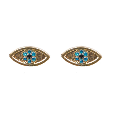 CALLIE Gold Jewel Evil Eye Stud Earrings