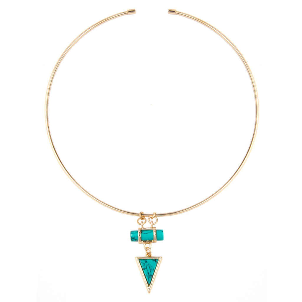Gold Geometric Semi Precious Stone Torque Necklace