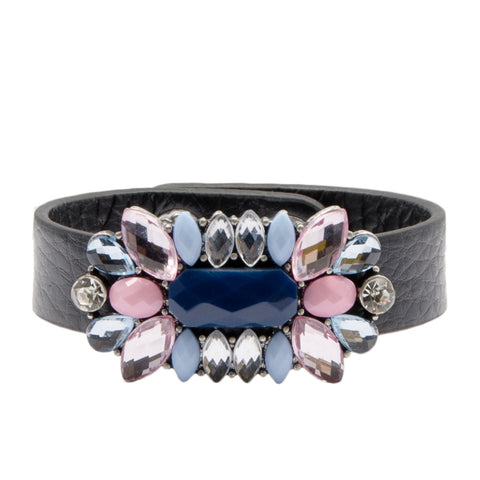 womens black leather cuff bracelet with pastel pink and blue coloured pretty floral jewel detail
