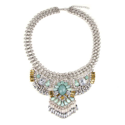 HARPER Silver Jewel Bib Necklace