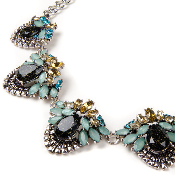 IDA Vintage Inspired Floral Multi Pendant Jewel Necklace