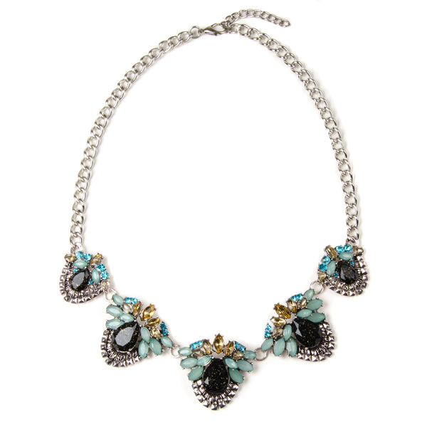 Pretty floral design multi jewel pendant necklace