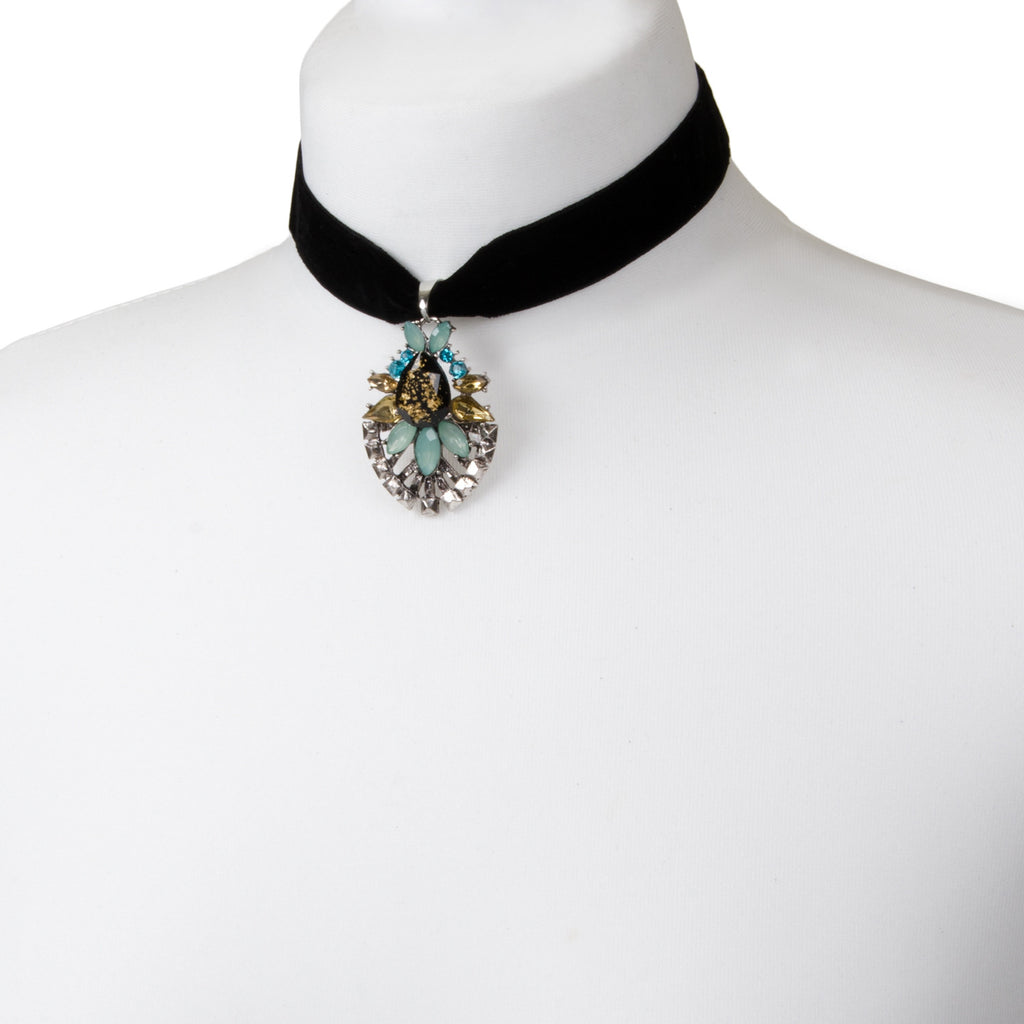 Black velvet choker with statement floral jewel pendant detail