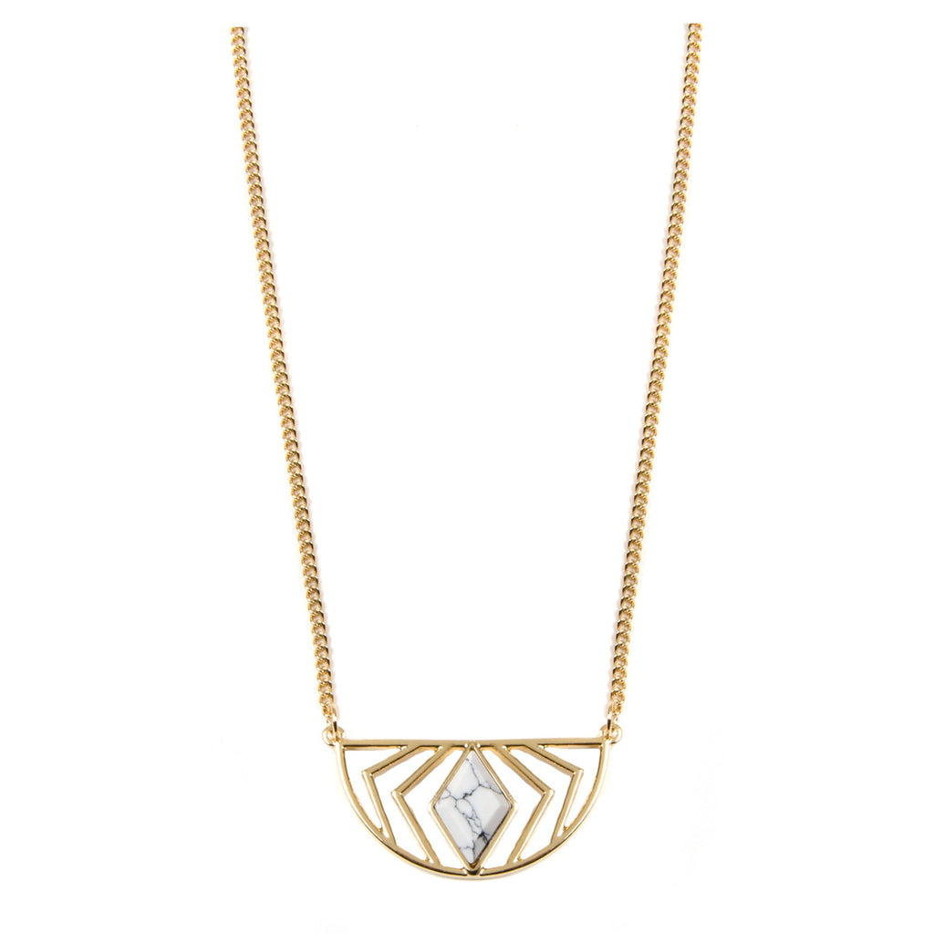 IRENE Gold Geometric Semi Circle Necklace