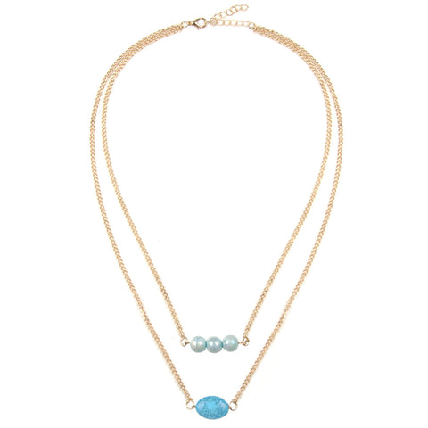 ISLA Gold & Blue Bead Multi Row Necklace