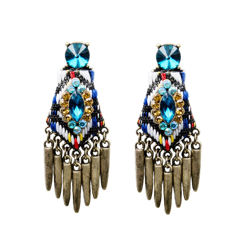 Tribal Woven Multi Jewel Spike Earrings