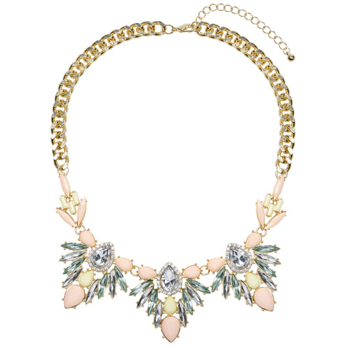 Gold chunky floral jewel necklace with yellow and peach pastel coloured rhinestones