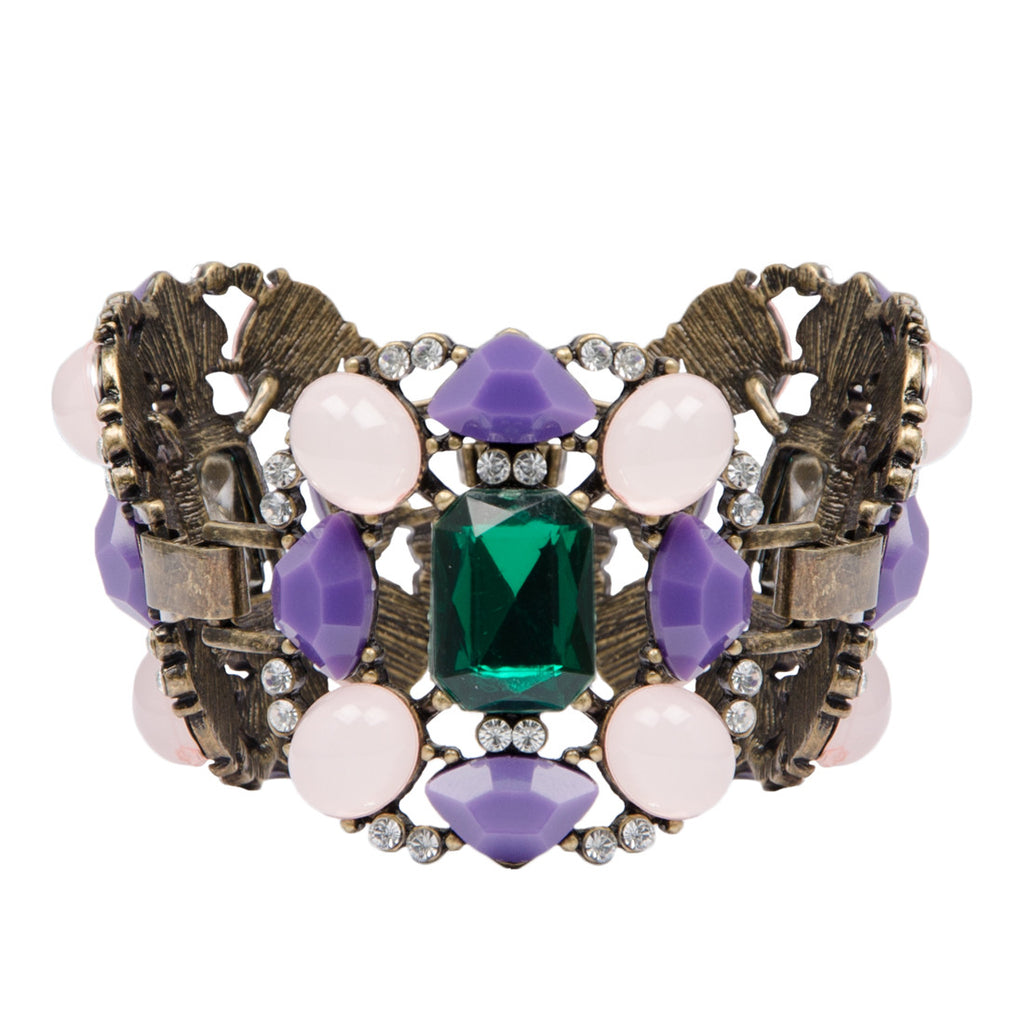 JASMIN Vintage Gold Purple Emerald Jewel Bracelet
