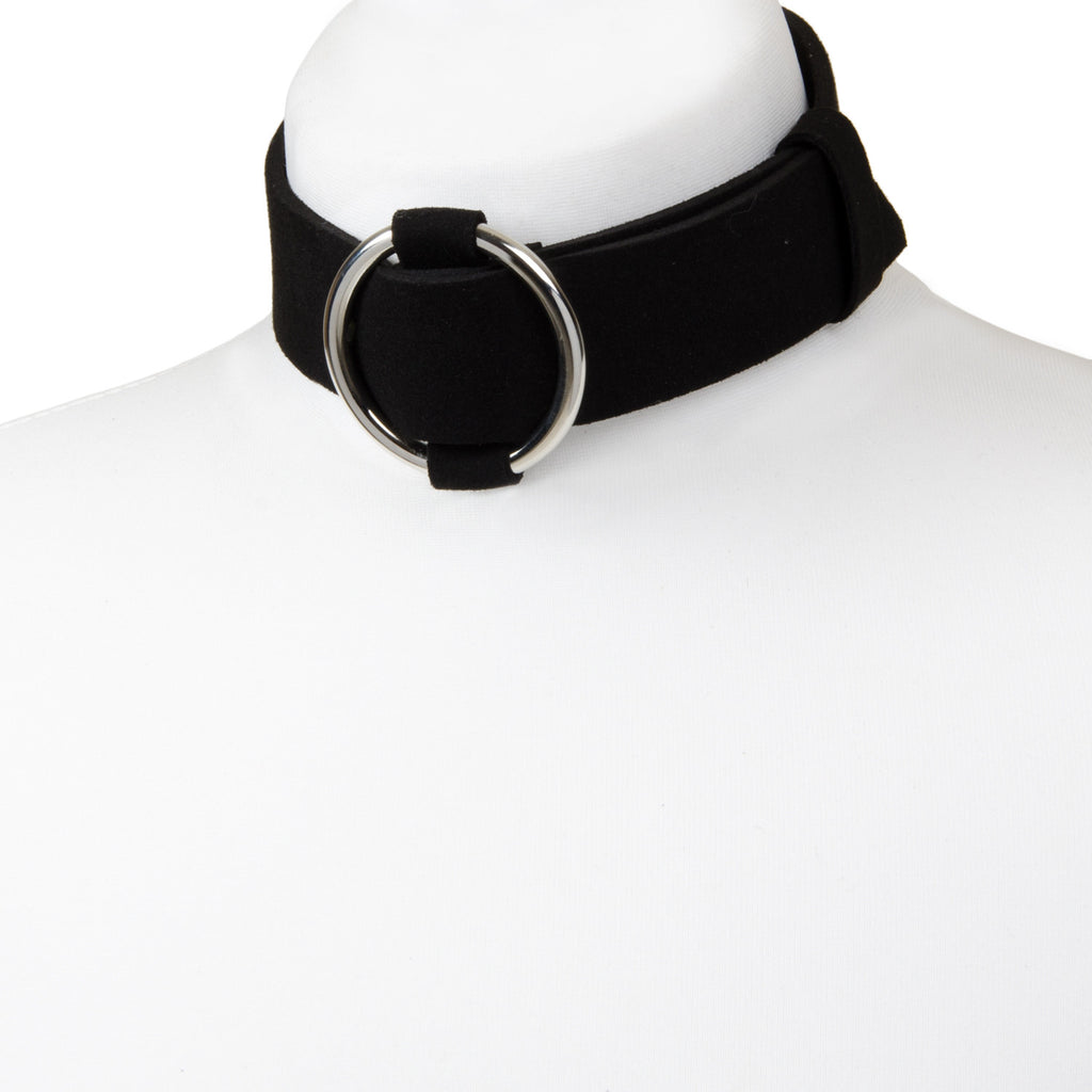 black faux suede wide choker necklace with large silver buckle
