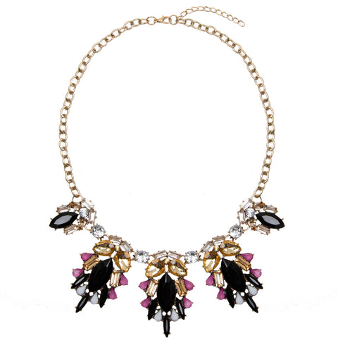 Gothic Dark Floral Jewel Necklace