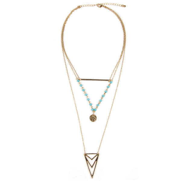 LEAH Multi Row Gold Layered Turquoise Bead Necklace