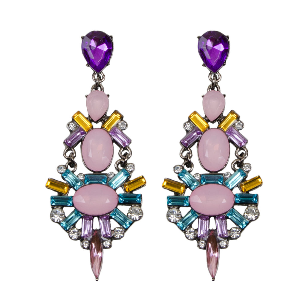 LUCY Bright Jewel Geometric Chandelier Earrings